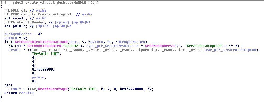 "Bedep creates a virtual desktop called ""Default IME"""