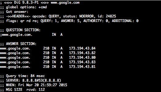 DNS request for www.google.com