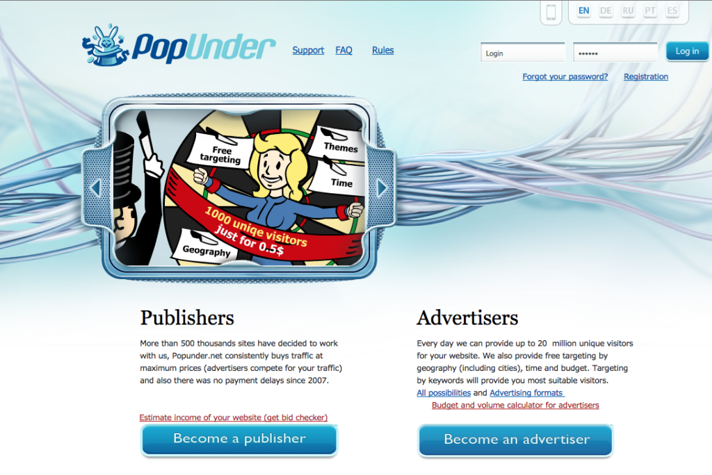 PopUnder website